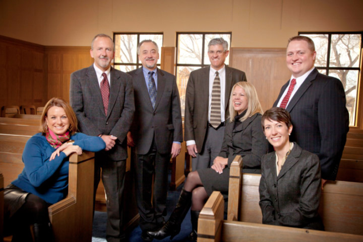 2012 Attorneys of Pence and MacMillan LLC Left to Right:  Devon O'Connell, Robert Southard, Paul Schierer, Greg Weisz, Megan Overman Goetz,  Dustin Richards and Jodi Shea