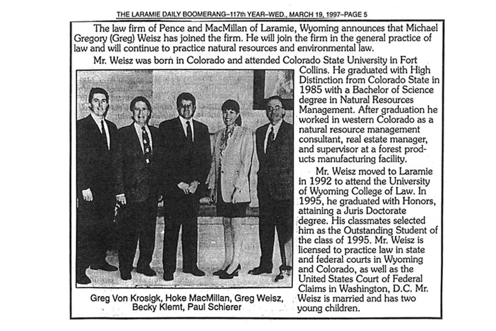 Greg Weisz joins the firm, 1997