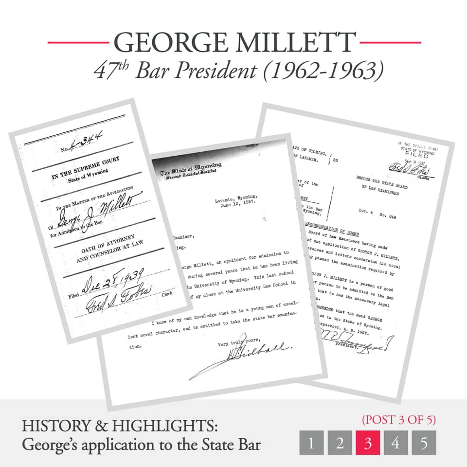 George Millett 47th Bar President (1962-1963) Documents