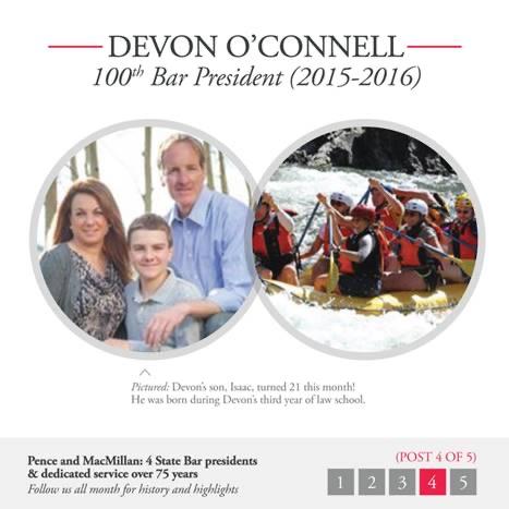Devon O'Connell: 100th Bar President (2015-2016): Family photos.