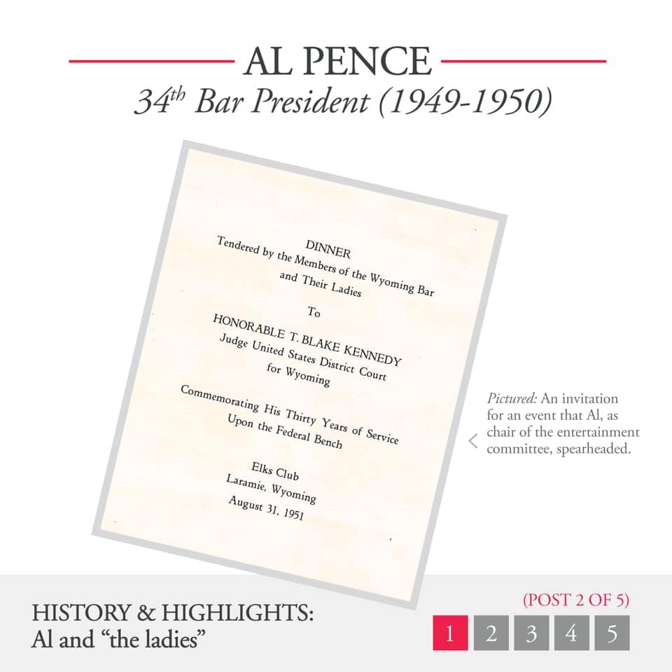 Al Pence 34th Bar President (1949-1950) Document