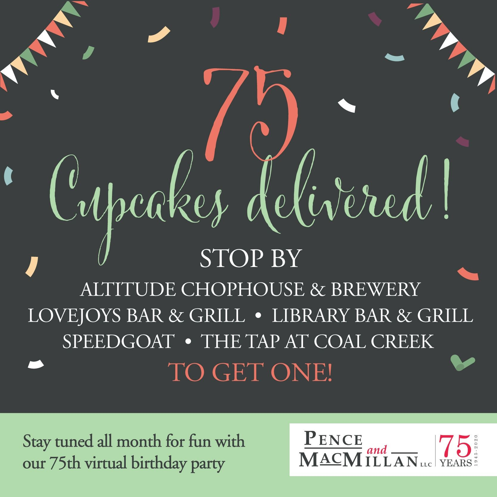 75 cupcakes delivered! Stop by Altitude Chophouse & Brewery, Lovejoys Bar & Grill, Library Bar & Grill, Speedgoat, The Tap at Coal Creek to get one! Stay tuned all month for fun with our 75th virtual birthday party.