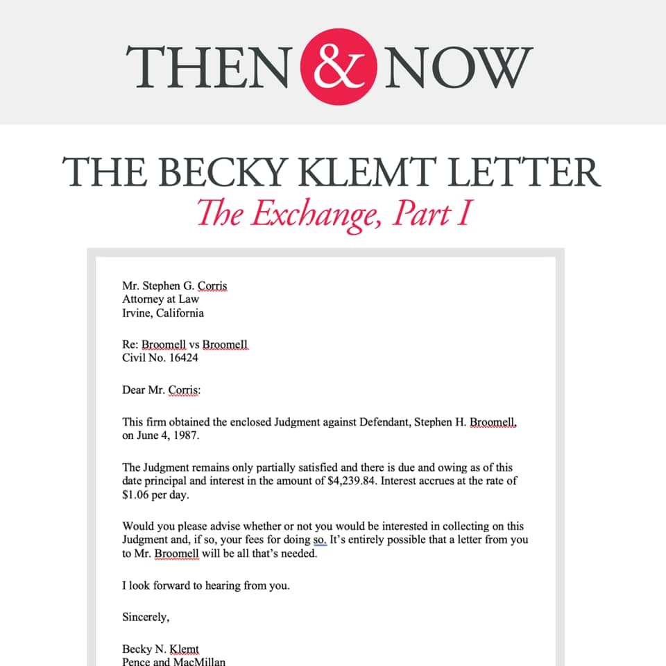 Then&Now: The Becky Klemt Letter: The Exchange, Part 1