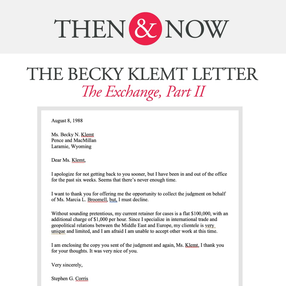 Then&Now: The Becky Klemt Letter: The Exchange, Part 2