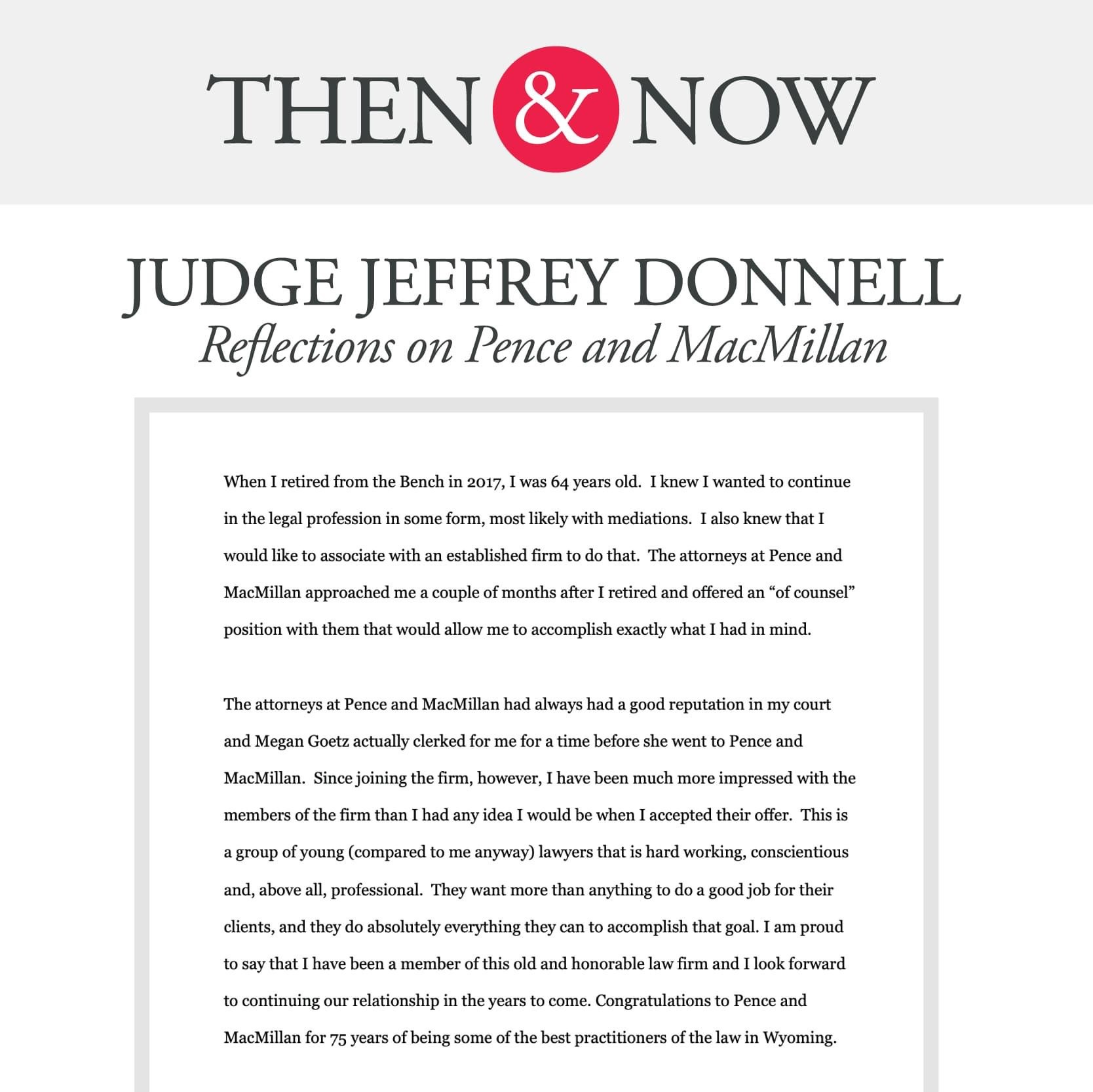 Then&Now: Judge Jeffrey Donnell Reflections on Pence and MacMillan
