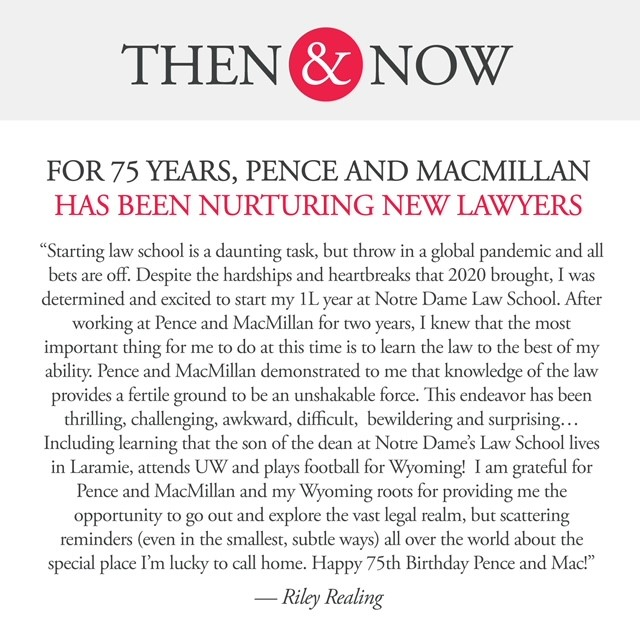 Then&Now: Riley Realing: For 75 years, Pence and MacMillan has been nurturing new lawyers.