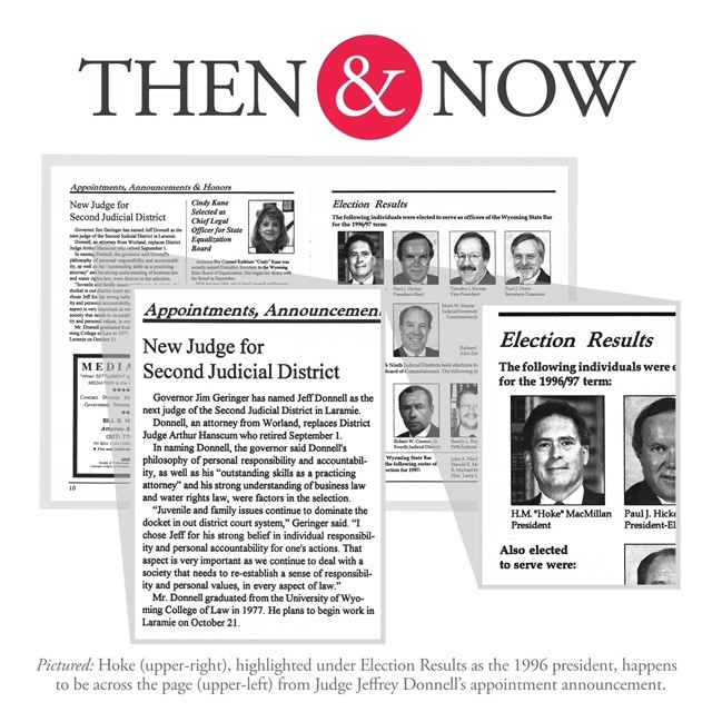 Then&Now: Hoke highlighted under Election Results as the 1996 president, happens to be across the page from Judge Jeffrey Donnell's appointment announcement.