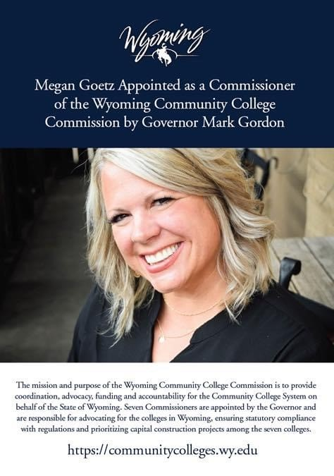 Megan Goetz Appointed as a Commissioner of the Wyoming Community College Commission by Governor Mark Gordon